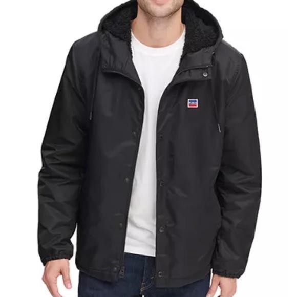 Levi's Coaches Jacket Fleece Lined Hood Nylon XL